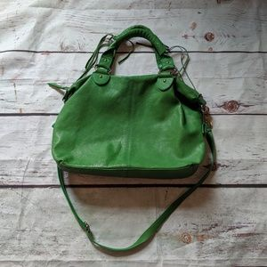 Tano Italian Leather Green Fringe Purse